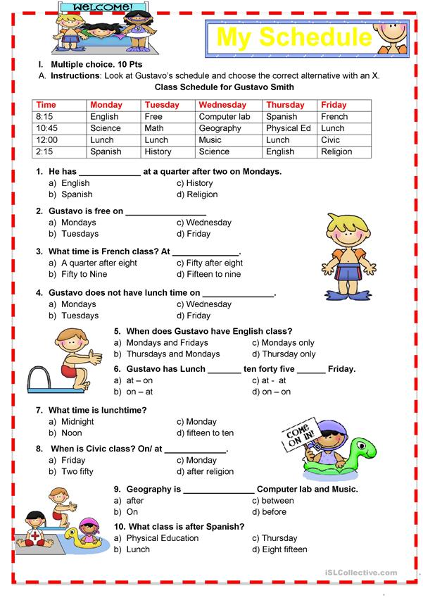 School subjects - Prepositions (in - at- on)