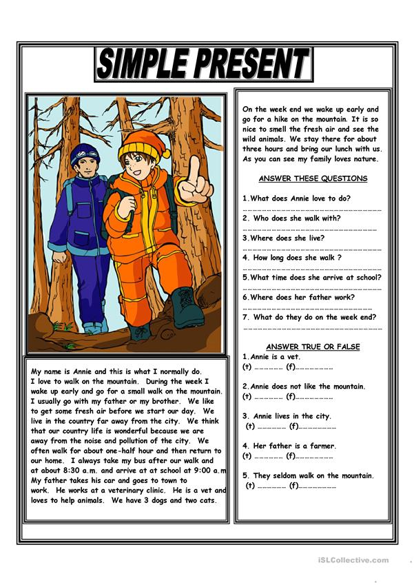 SIMPLE PRESENT READING COMPREHENSION TEXT