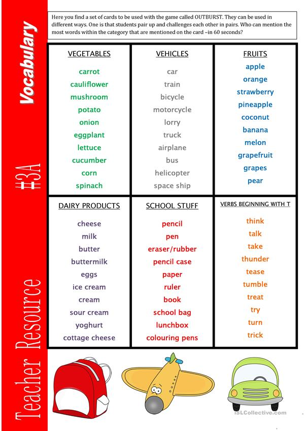 Teacher Resource 3A Vocabulary