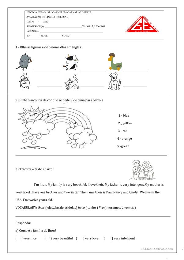 TEst of English - 6º ano