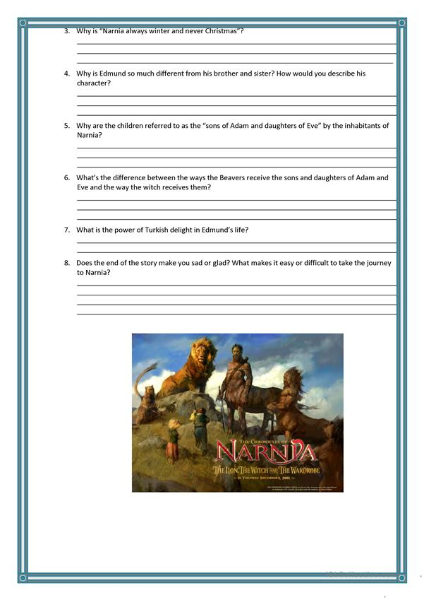 The Narnia Chronicles worksheet
