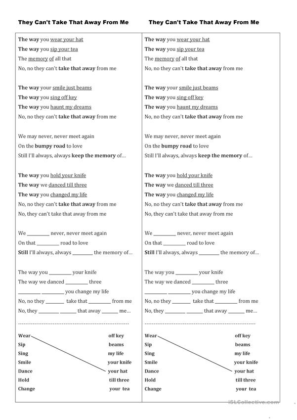 They Can't Take That Away From ME - song worksheet