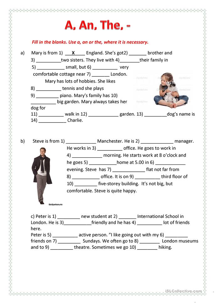 A, An, the, - worksheet - Free ESL printable worksheets made by ...