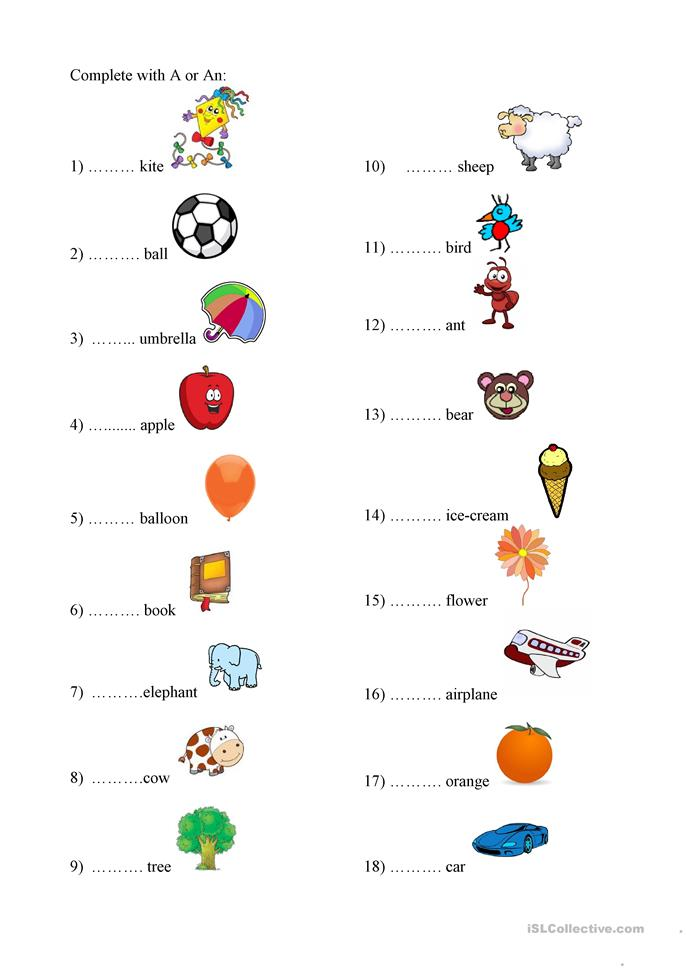 All Worksheets A And An Worksheets Free Printable Preeschool – A and an Worksheets