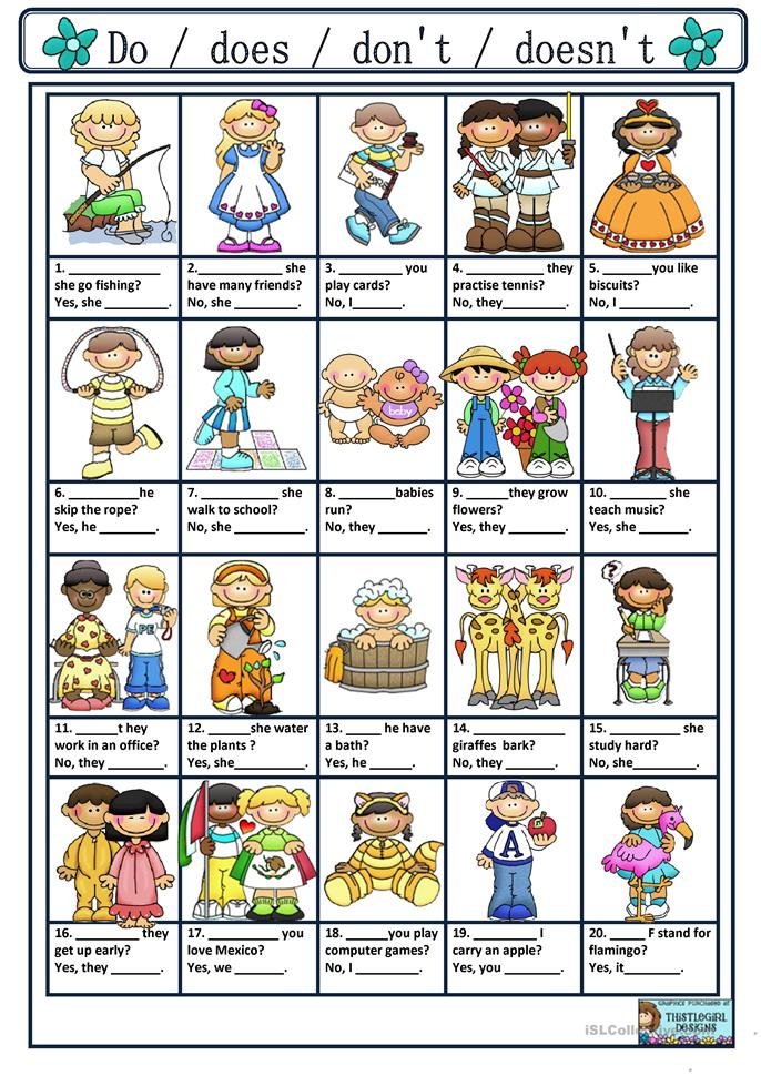 asking and answering questions with do does don 39 t doesn 39 t worksheet free esl printable. Black Bedroom Furniture Sets. Home Design Ideas