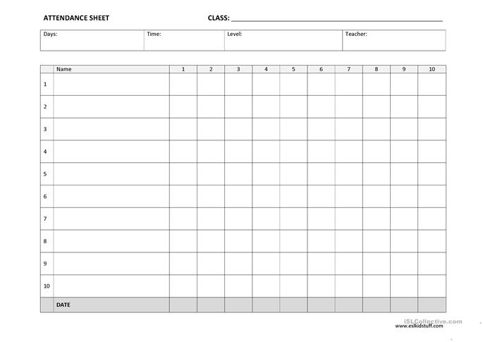 Attendance Sheet template worksheet - Free ESL printable worksheets ...