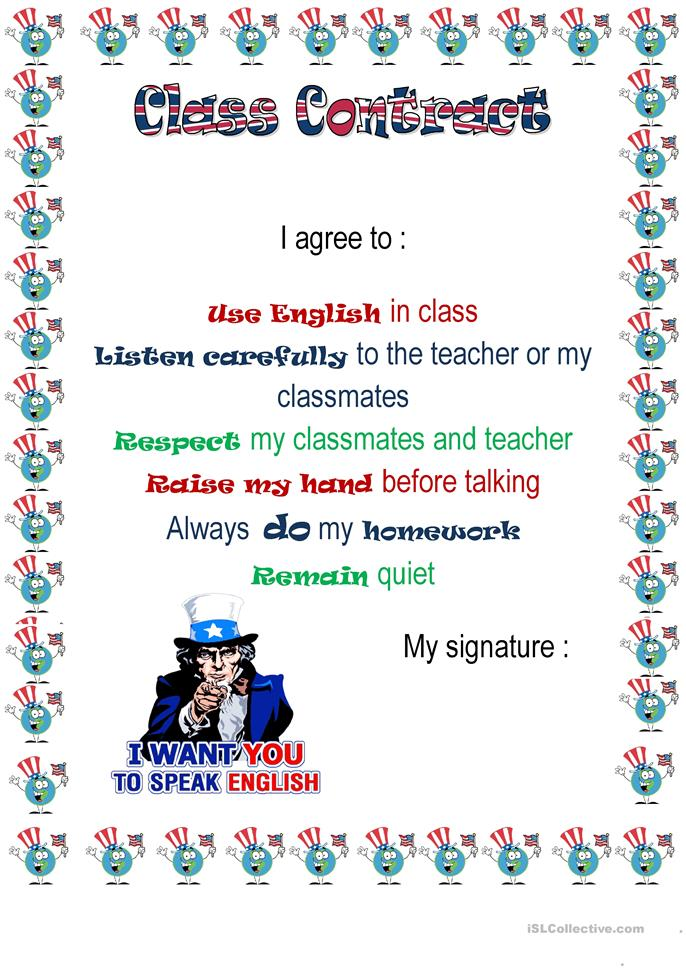 Class contract worksheet - Free ESL printable worksheets ...