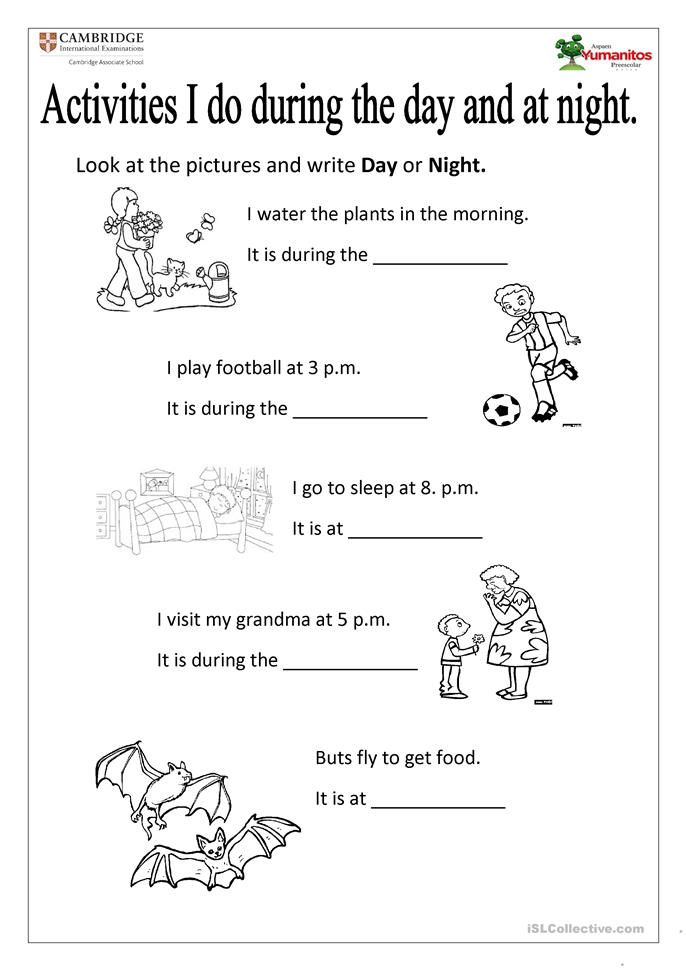 DAY AND NIGHT worksheet - Free ESL printable worksheets made by ...