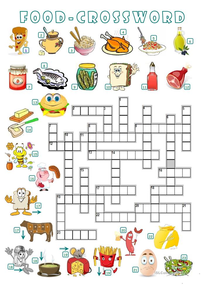 FOOD - CROSSWORD worksheet - Free ESL printable worksheets made by ...