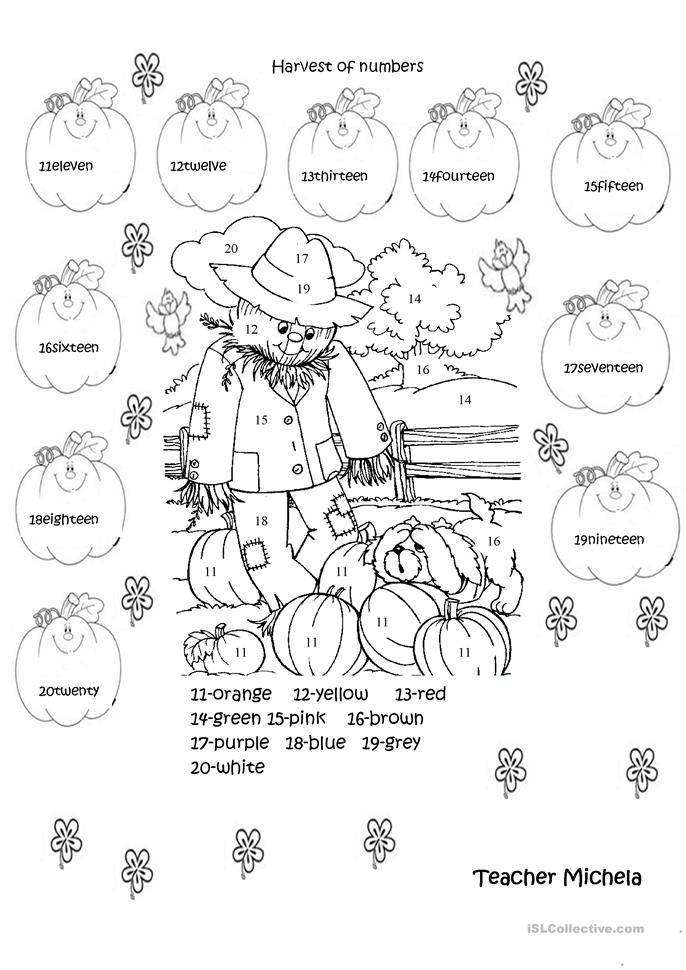 Harvest of numbers worksheet - Free ESL printable ...