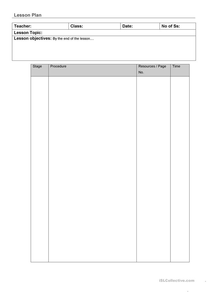 Lesson plan template worksheet free esl printable for Lesson plan template for esl teachers