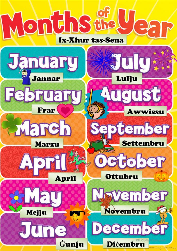 Free Worksheets collective nouns sentences worksheets : months of the year worksheet - Free ESL printable ...