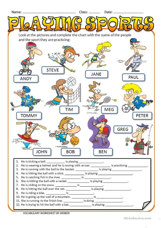 playing sports worksheet free esl printable worksheets made by teachers. Black Bedroom Furniture Sets. Home Design Ideas
