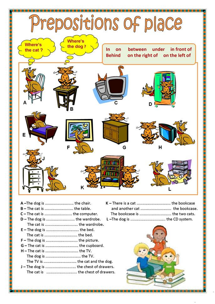 Preposition In Learn In Marathi All Complate: Prepositions Of Place (1). Worksheet