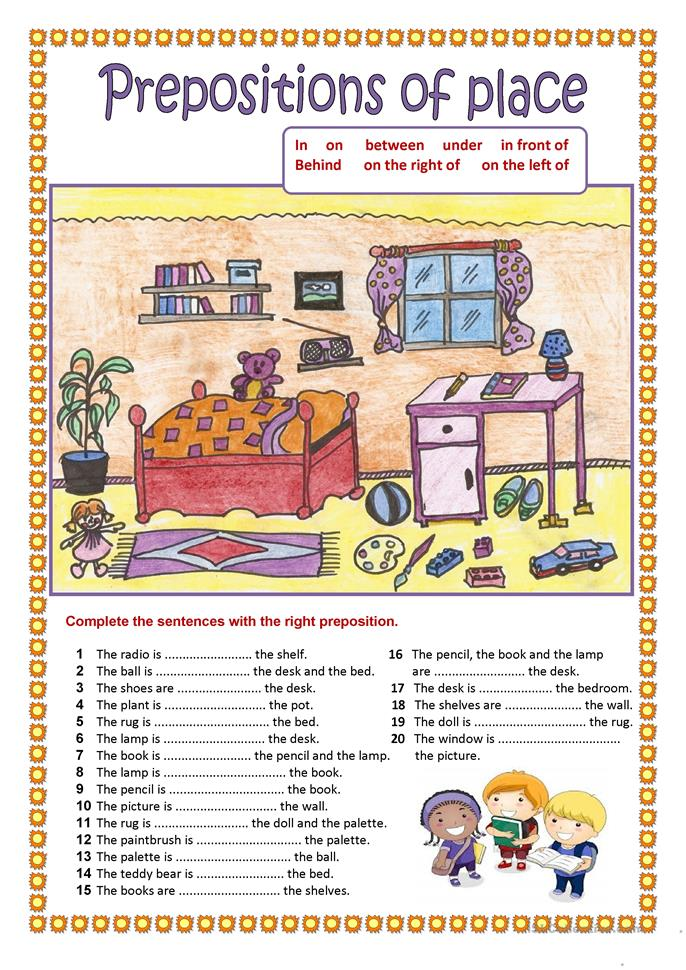 Prepositions of place ... - ESL worksheets