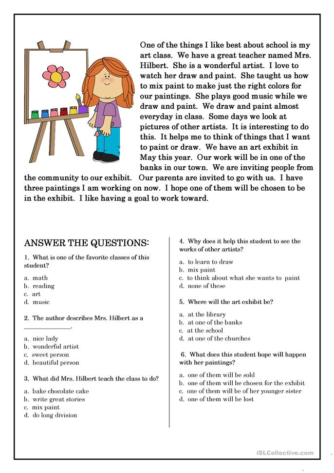 Worksheets Reading Comprehension Multiple Choice Worksheets 207 free esl multiple choice worksheets reading comprehension for beginner and elementary students 5 worksheets