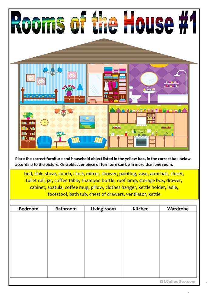 Rooms In A House French Work Sheet