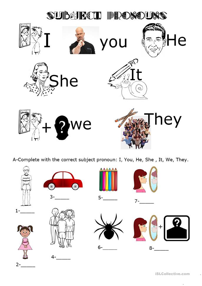 Subject Pronouns - ESL worksheets