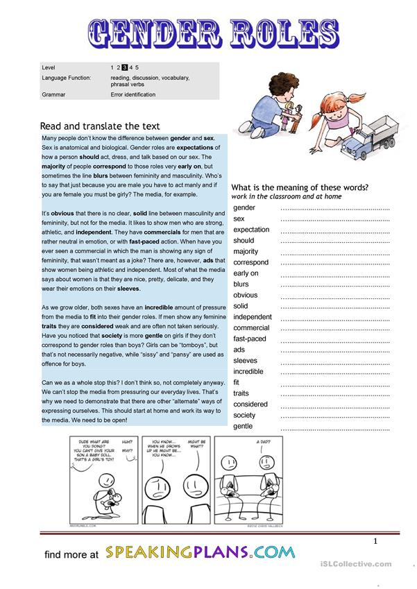 gender and sex worksheet 2 essay Essay preview gender-role development is one of the most important areas of human development the moment a women finds out she is pregnant she is sex and gender are often intertwined, and certain social expectations can be attributed to ones biological sex the sex of a newborn sets the.