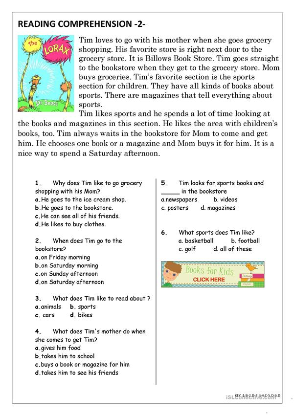 Reading Comprehension For Beginner And Elementary Students 2 - English ESL  Worksheets For Distance Learning And Physical Classrooms