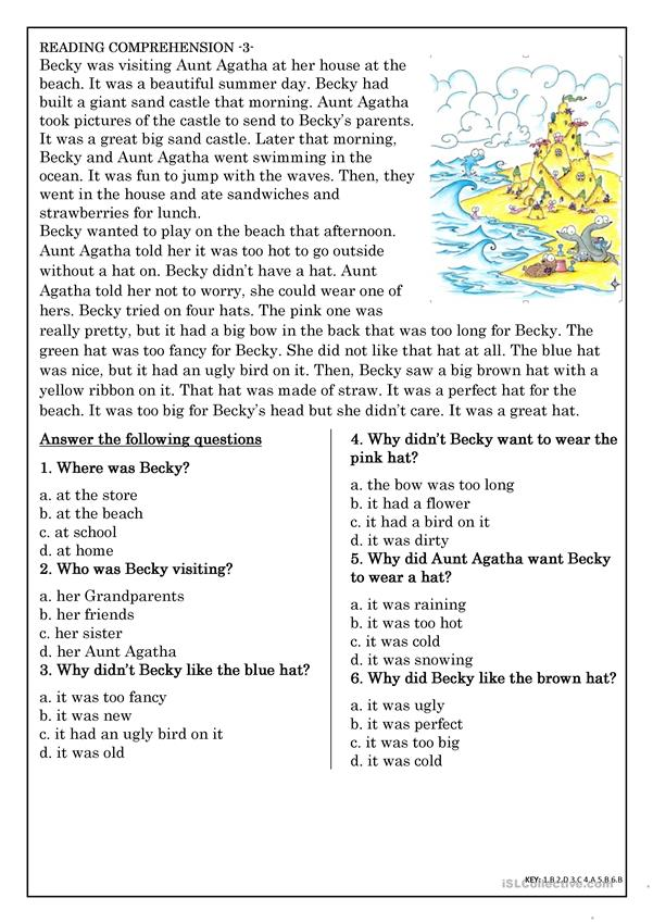 Reading Comprehension For Beginner And Elementary Students 3 - English ESL  Worksheets For Distance Learning And Physical Classrooms