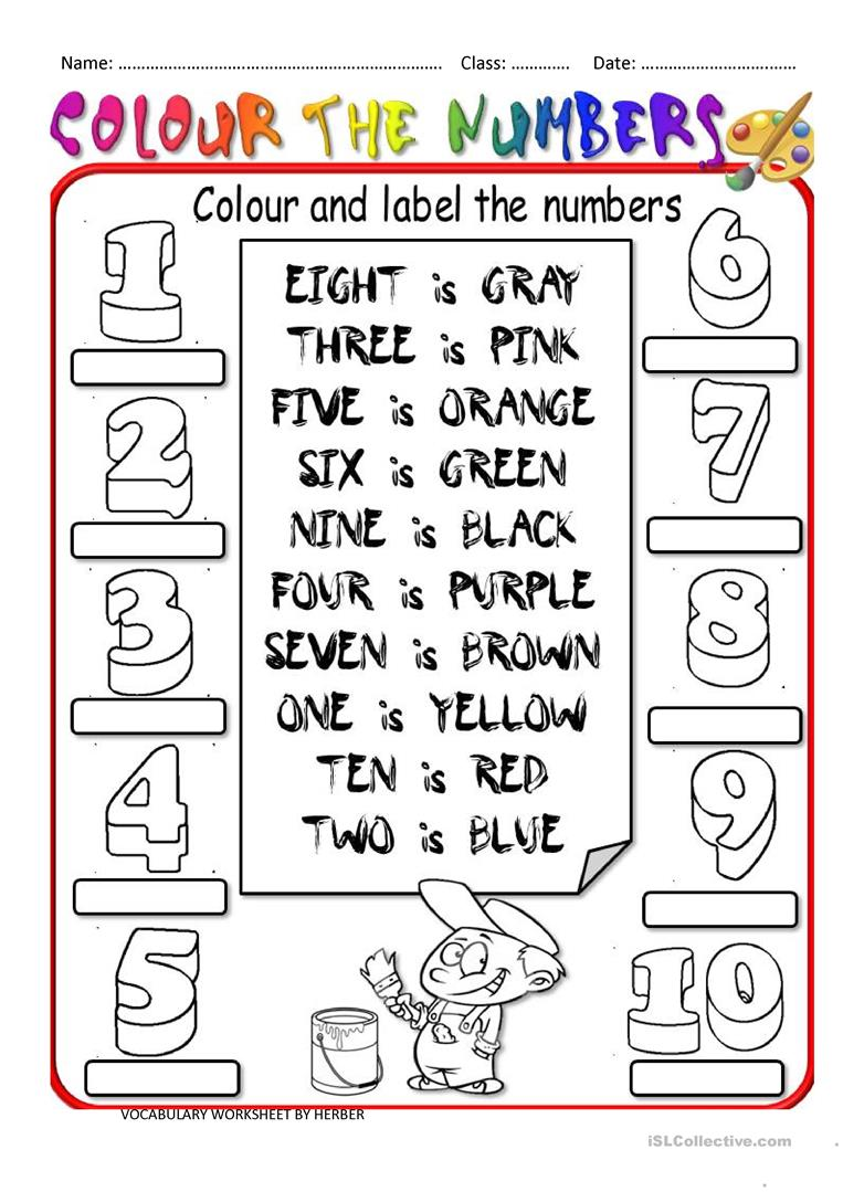 colour the numbers worksheet free esl printable worksheets made by teachers. Black Bedroom Furniture Sets. Home Design Ideas