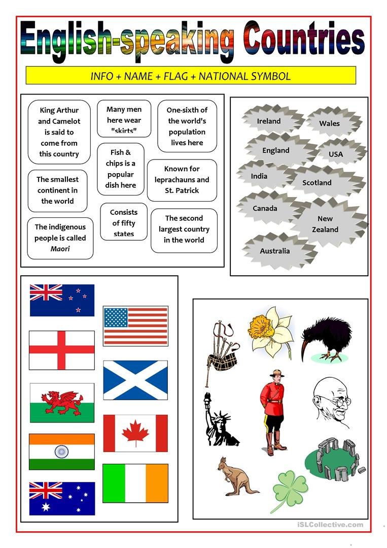 English Vocabulary Worksheets : English speaking countries matching activity worksheet
