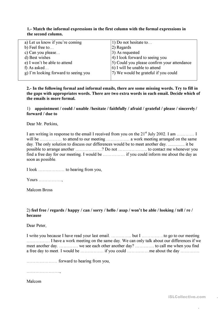 Formal and informal language letteremail worksheet free esl full screen thecheapjerseys Choice Image