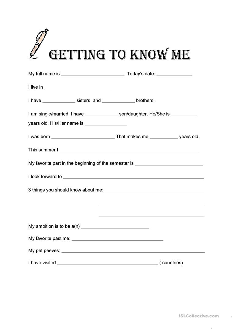 image relating to Getting to Know You Printable named Turning into in direction of Understand Me - English ESL Worksheets