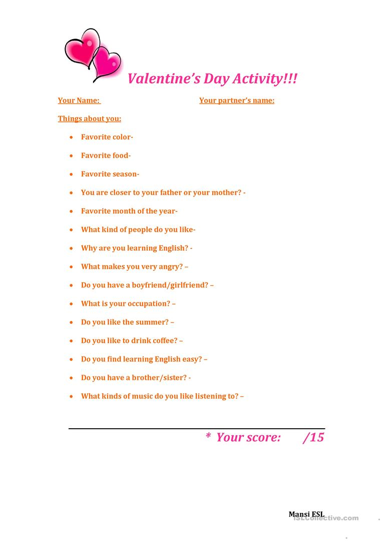 How well do you know your partner?! worksheet - Free ESL