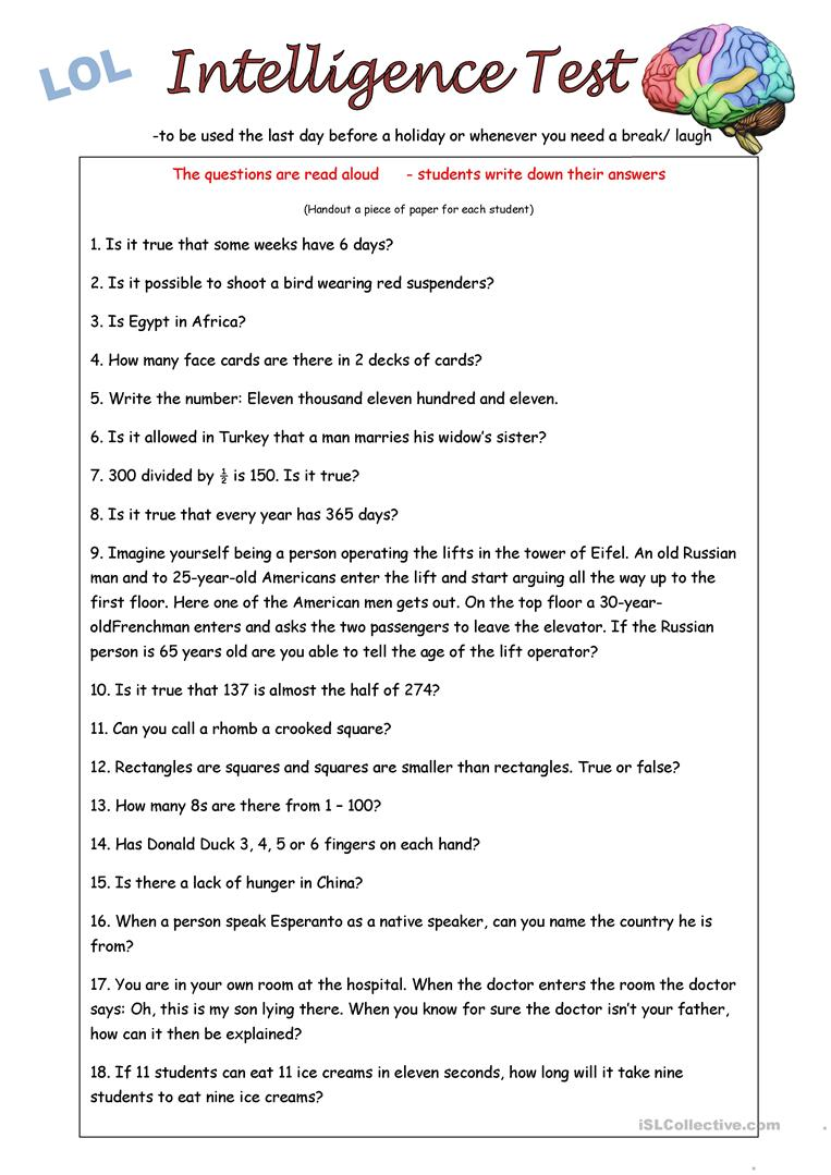 graphic about Printable Iq Tests identify IQ Check out - English ESL Worksheets