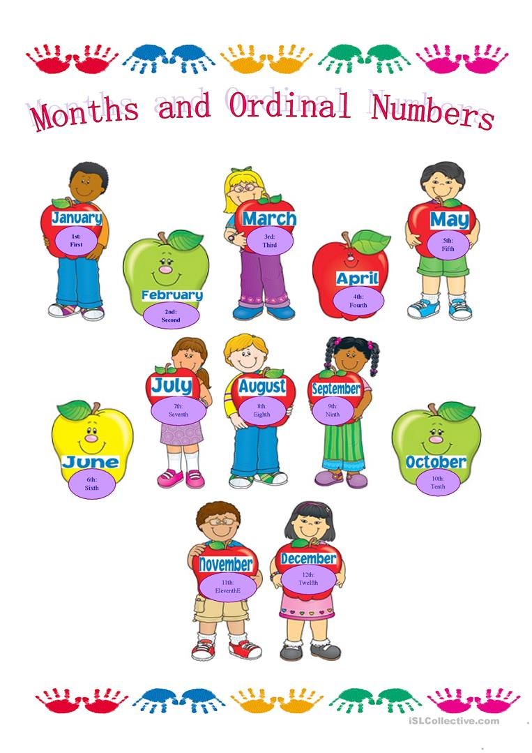 Months of the Year and Ordinal Numbers - English ESL ...