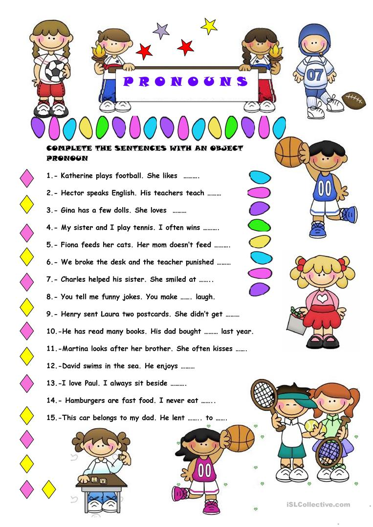 Free Worksheets worksheet on subject pronouns : OBJECT PRONOUNS worksheet - Free ESL printable worksheets ...