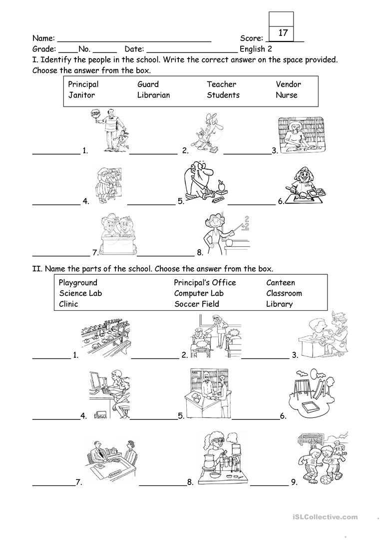 People and Part of the School - English ESL Worksheets
