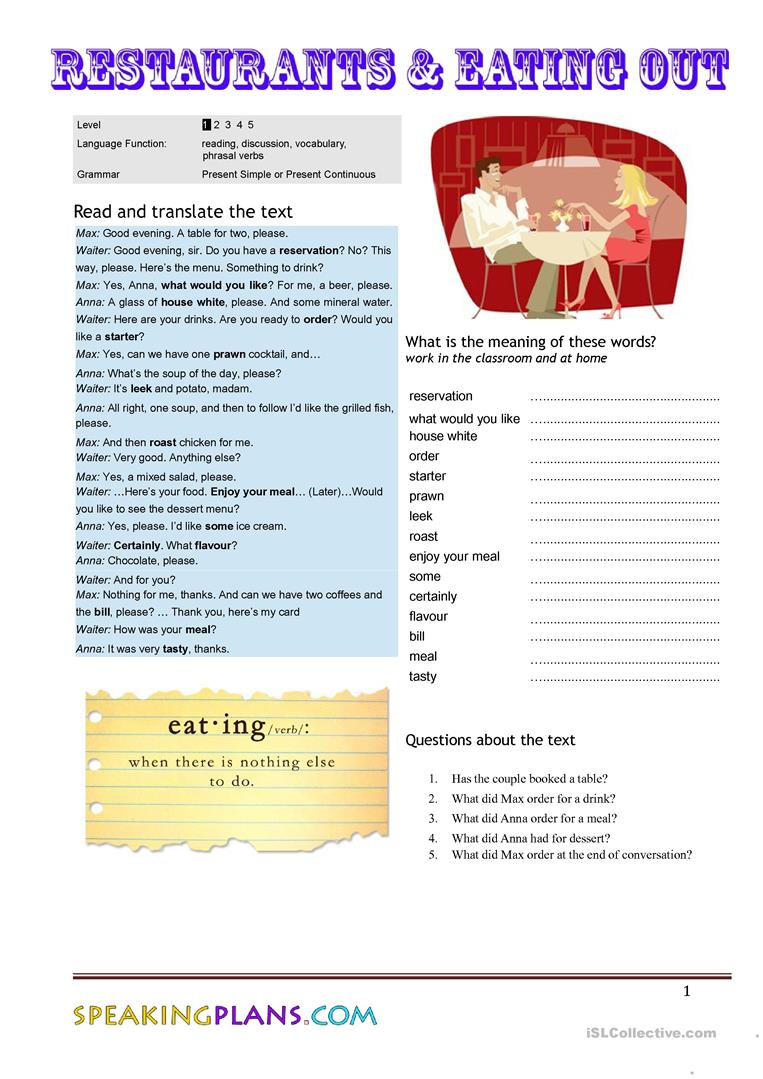 Restaurants u0026 Eating Out worksheet - Free ESL printable ...