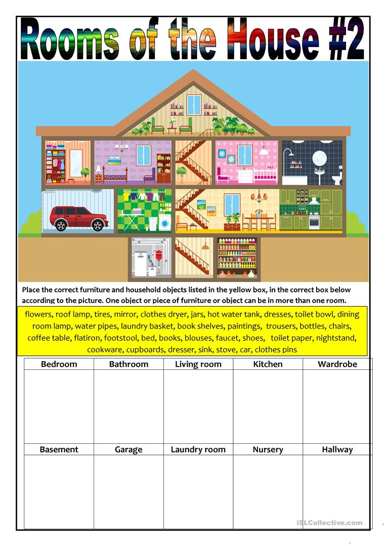 House Rooms Worksheet: Rooms Of The House #2 Worksheet