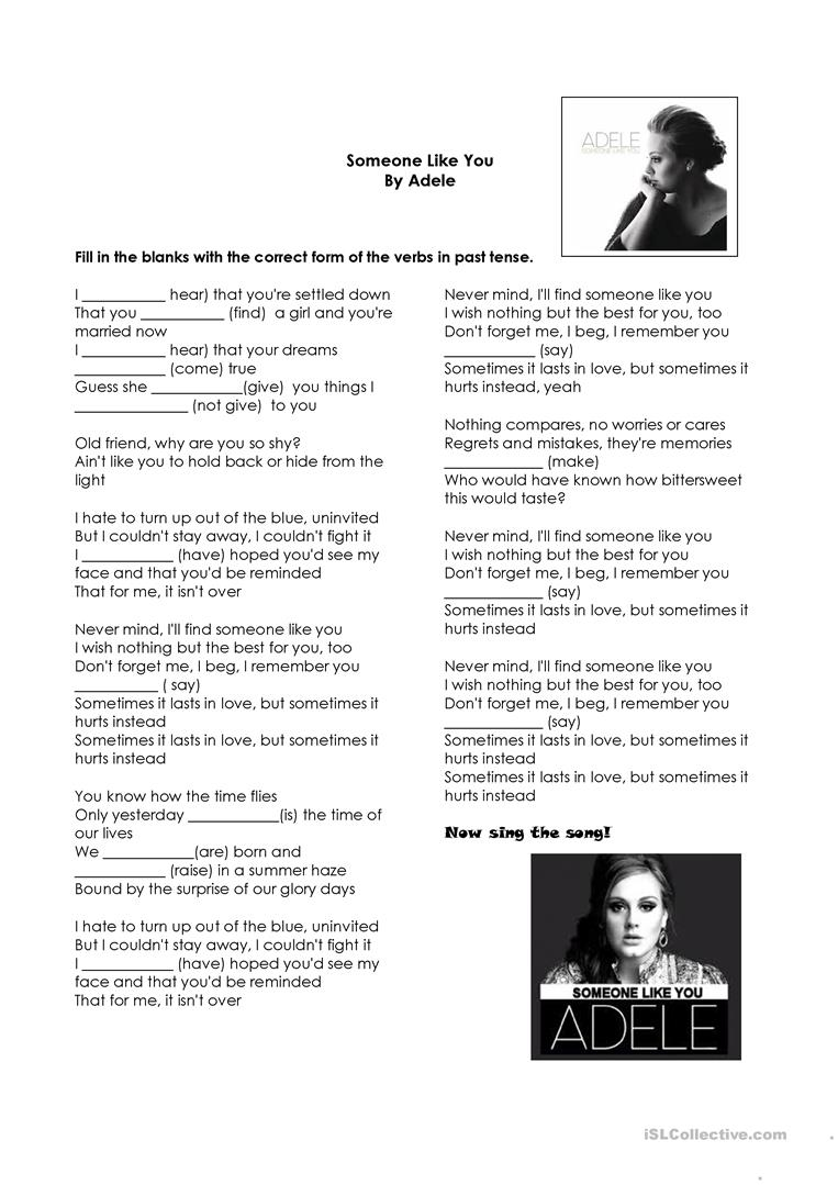 Simple Past Tense Song Someone Like You- Adele - English ESL Worksheets