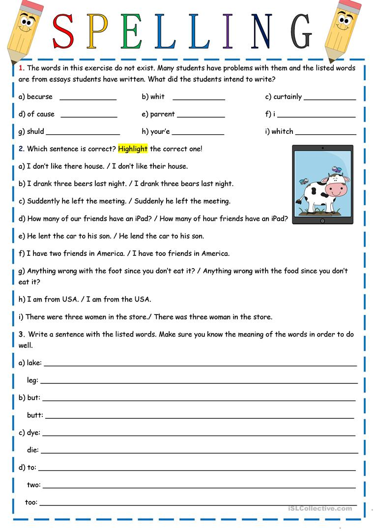 spelling worksheet free esl printable worksheets made by teachers. Black Bedroom Furniture Sets. Home Design Ideas