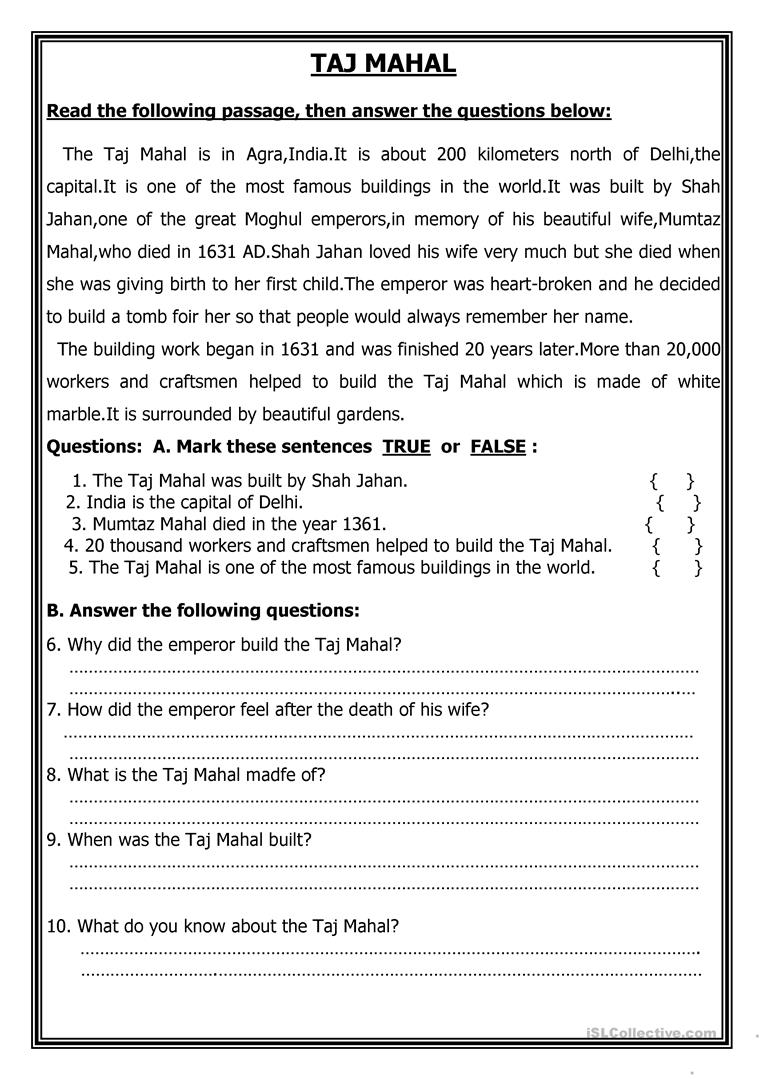 - TAJ MAHAL - English ESL Worksheets For Distance Learning And