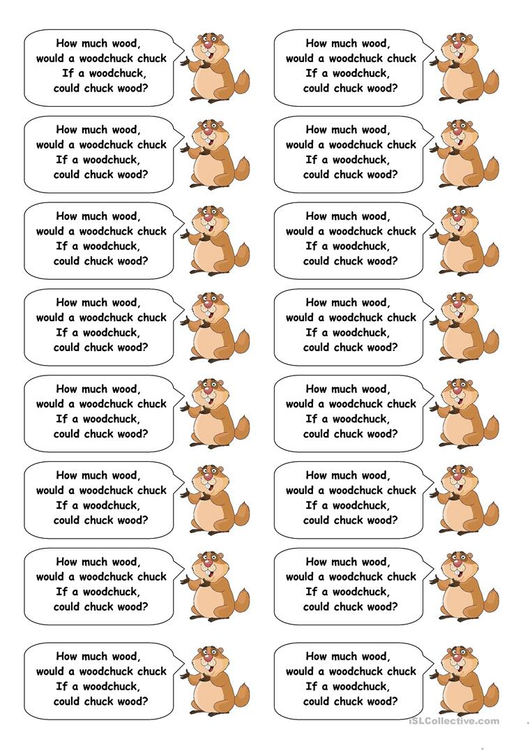 32 FREE ESL Tongue Twisters Worksheets