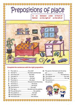 275 free esl prepositions of place worksheets. Black Bedroom Furniture Sets. Home Design Ideas