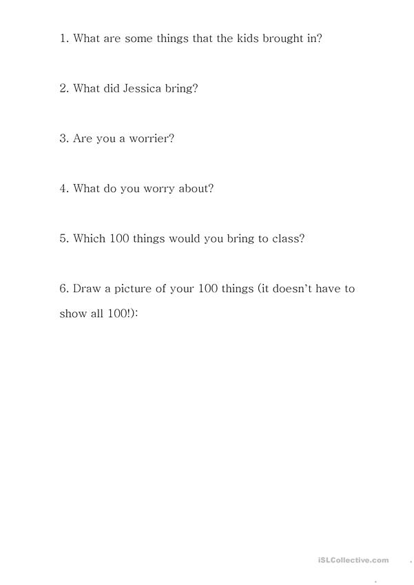 100 Day Worries vocab and reading questions