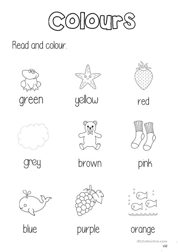 Colours worksheet