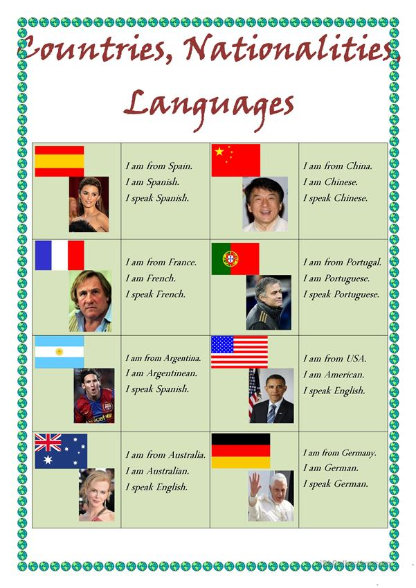 Countries,nationalities and languages
