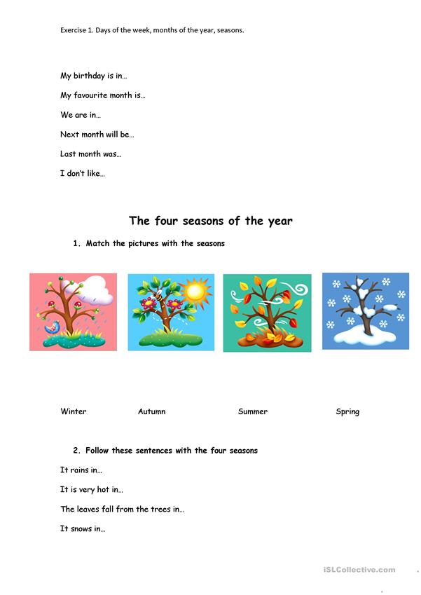 Days, months and seasons