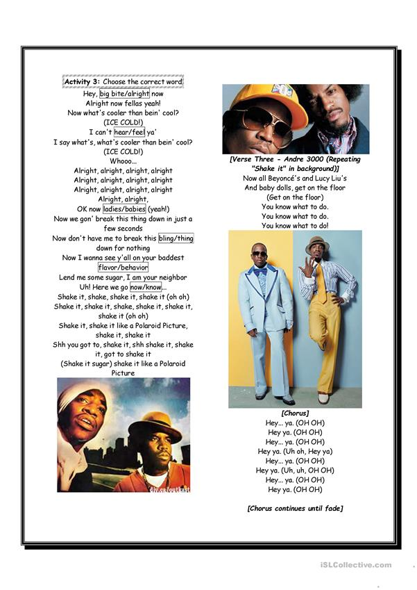 Hey ya - Outkast - Listening Comprehension