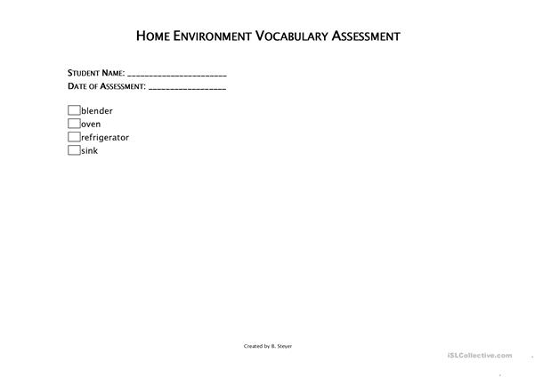 Home Vocabulary Checklist