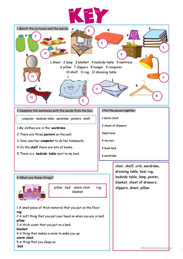 In The Bedroom Vocabulary Exercises Worksheet Free Esl Printable
