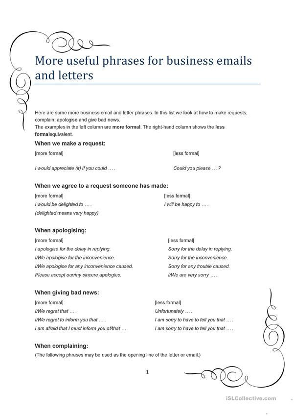 More useful phrases for business emails and letters