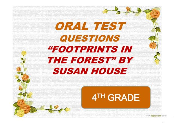ORAL TEST WITH QUESTIONS ON